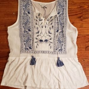 Brand new Lucky Brand embroidered peplum top